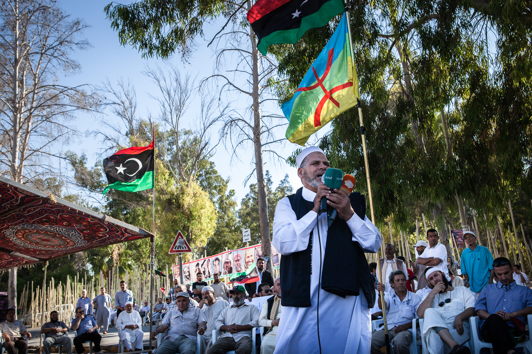 Tripoli, le 7 Juillet 2015. Au cours d'une manifestation en faveur du gouvernement Fajr Libya (aube de la Libye) non reconnu par la communauté internationale.  Tripoli, July 7, 2015. During a demonstration in support of Libya Fajr government  (dawn of Libya), not recognized by the international community.