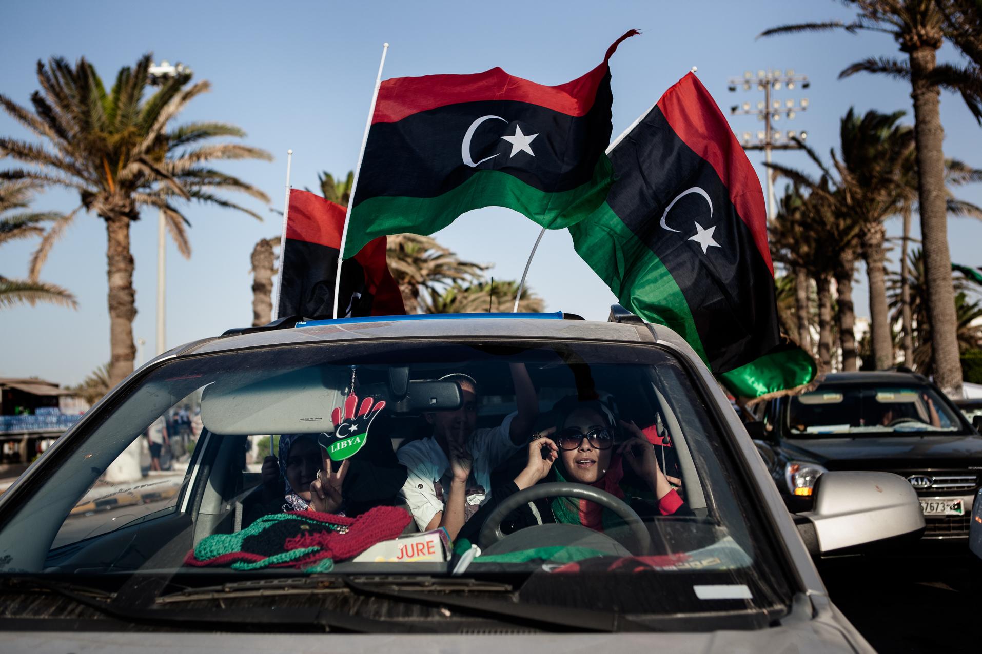 Tripoli, 7 juillet 2012, célébrations sur a place verte de Tripoli, pour les élections législatives.  Tripoli, July 7, 2012, celebrations in Green Square in Tripoli for the first elections.